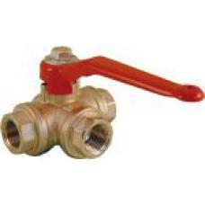 Lodveida trīsceļu ventilis (T-tips) 3/4'' Rastelli