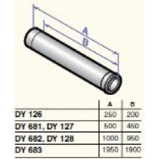 Dūmvada gargabals D80/125 1000mm, DY128