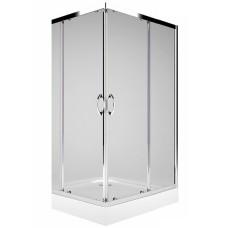 Rekord kvadrātveida stūra duškabīne 80x80/190cm, bīdāmas durvis, caurspīdīgs stikls