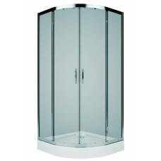 Rekord pusapaļa duškabīne 80x80/190cm, bīdāmas durvis, caurspīdīgs stikls