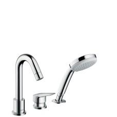 Logis 3-caurumu vannas maisītājs ar izvelkamu rokas dušas klausli, iebūvējams uz malas, hroms