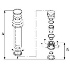 Vertikāls dūmvada kompl. L=1,23m