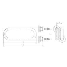 5.0 kW-127cm Ūdenim TEN A13 J 220 spiral g=12 A=23